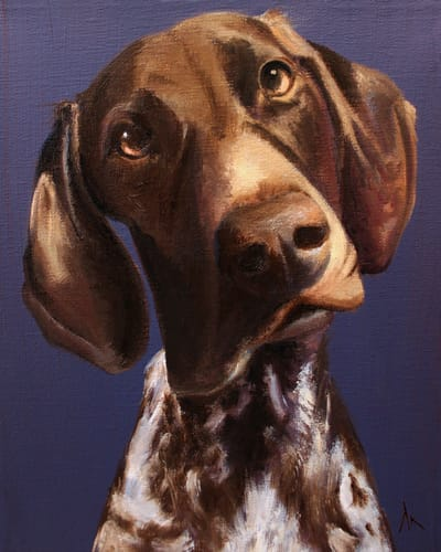 "German Shorthaired Pointer, Happiness Is,  Dog, Art, Pet, Portrait, Fine Art, Oil, Painting, Custom, Commission Your Own, Happiness Is,   The ""Happiness is"" series title is derived from the classic ""Peanuts"" comic strip statement 'Happiness is a warm puppy'. I began the series creating gifts of dog portraits of family and friends' furry companions. Now many of the paintings are available as canvas prints, reproductions start at $50 and magnets of your favs are just $3. Ideal for homes and the lobbies and interiors of any animal related business (vet clinics, grooming, boarding, supplies etc) or organization (aspca, humane society, rescues, shelters, etc). A portion of each print sale goes to no-kill shelters and rescues to help animals find their people. If anyone is of interest in learning more about what we can do for their space just contact me."