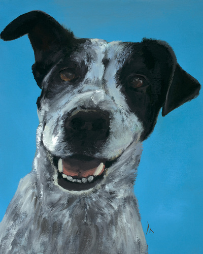 "Blue Heeler, Happiness Is,  Dog, Art, Pet, Portrait, Fine Art, Oil, Painting, Custom, Commission Your Own, Happiness Is,   The ""Happiness is"" series title is derived from the classic ""Peanuts"" comic strip statement 'Happiness is a warm puppy'. I began the series creating gifts of dog portraits of family and friends' furry companions. Now many of the paintings are available as canvas prints, reproductions start at $50 and magnets of your favs are just $3. Ideal for homes and the lobbies and interiors of any animal related business (vet clinics, grooming, boarding, supplies etc) or organization (aspca, humane society, rescues, shelters, etc). A portion of each print sale goes to no-kill shelters and rescues to help animals find their people. If anyone is of interest in learning more about what we can do for their space just contact me."