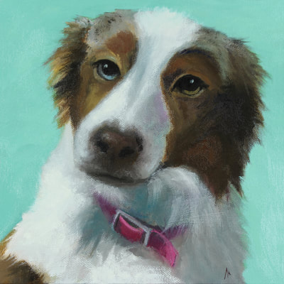"Mini Aussie, Happiness Is,  Dog, Art, Pet, Portrait, Fine Art, Oil, Painting, Custom, Commission Your Own, Happiness Is,   The ""Happiness is"" series title is derived from the classic ""Peanuts"" comic strip statement 'Happiness is a warm puppy'. I began the series creating gifts of dog portraits of family and friends' furry companions. Now many of the paintings are available as canvas prints, reproductions start at $50 and magnets of your favs are just $3. Ideal for homes and the lobbies and interiors of any animal related business (vet clinics, grooming, boarding, supplies etc) or organization (aspca, humane society, rescues, shelters, etc). A portion of each print sale goes to no-kill shelters and rescues to help animals find their people. If anyone is of interest in learning more about what we can do for their space just contact me."