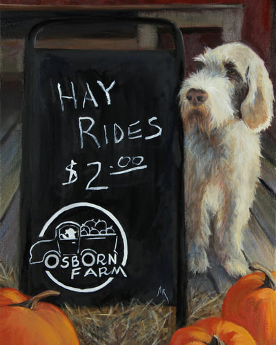 print: Happiness Is... a Hay Ride by Alyson Kinkade    Anyone who has picked a pumpkin from Osborn Farm in Loveland, Colorado will recognize the lead sales dog Giacomo, a sweet Spinone Italiano. Quintessential Americana scenes are commonplace at this fantastic historic NoCo landmark.
