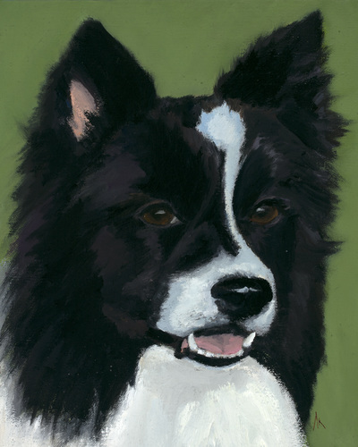 "Border Collie, Happiness Is,  Dog, Art, Pet, Portrait, Fine Art, Oil, Painting, Custom, Commission Your Own, Happiness Is,   The ""Happiness is"" series title is derived from the classic ""Peanuts"" comic strip statement 'Happiness is a warm puppy'. I began the series creating gifts of dog portraits of family and friends' furry companions. Now many of the paintings are available as canvas prints, reproductions start at $50 and magnets of your favs are just $3. Ideal for homes and the lobbies and interiors of any animal related business (vet clinics, grooming, boarding, supplies etc) or organization (aspca, humane society, rescues, shelters, etc). A portion of each print sale goes to no-kill shelters and rescues to help animals find their people. If anyone is of interest in learning more about what we can do for their space just contact me."