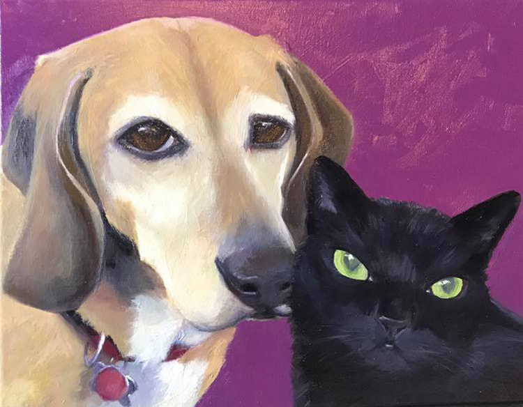 Had the pleasure of painting this fun duo. My first pup and cat combo! . #HappinessIsBellaAndKitty the latest in the #HappinessIs pet portrait series. #FreshPaint #OffTheEasel . Seems like good timing to paint a gorgeous #BlackCat. And always nice to paint #PuppyDogEyes like Bella's.  . Go to my website AlysonKinkade.com to order prints or #CommissionYourOwn #PetPortrait #captureyourpetforever . . . #DogsOfInstagram #CatsOfInstagram #DogArt #CatArt #CatAndDogFriends #DogArtist #CatArtist #PetArt #CatPortrait #DogPortrait #Paint #sennelier1887 #CustomArt #oilpainting #blackcatlove #GreenEyedBeauty #NineLives #FloppyEars #sweetpup #DogsOwn