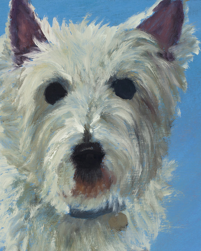 "Westie, Happiness Is,  Dog, Art, Pet, Portrait, Fine Art, Oil, Painting, Custom, Commission Your Own, Happiness Is,   The ""Happiness is"" series title is derived from the classic ""Peanuts"" comic strip statement 'Happiness is a warm puppy'. I began the series creating gifts of dog portraits of family and friends' furry companions. Now many of the paintings are available as canvas prints, reproductions start at $50 and magnets of your favs are just $3. Ideal for homes and the lobbies and interiors of any animal related business (vet clinics, grooming, boarding, supplies etc) or organization (aspca, humane society, rescues, shelters, etc). A portion of each print sale goes to no-kill shelters and rescues to help animals find their people. If anyone is of interest in learning more about what we can do for their space just contact me."