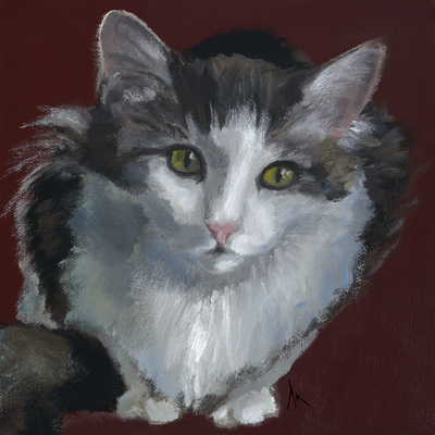 "Cat, Portrait, Commision Your Own, Pet Portrait, Cat ARt, Oil, Painting, Kitten, Calico, Grey, Tabby, Orange, Siamese, Black, White, Tuxedo, Cats, Nine Lives, American, Shorthair, Long Hair, The ""Nine Lives"" series began after creating a number of dog portraits of family and friends' furry companions. Even my own cat was feeling left out, so I am catching up with a feline series. Most of the paintings are available as quality canvas prints, reproductions start at $50 and magnets of your favs are just $3. Ideal for homes and the lobbies and interiors of any animal related business (vet clinics, grooming, boarding, supplies etc) or organization (aspca, humane society, rescues, shelters, etc). A portion of each print sale goes to no-kill shelters and rescues to help animals find their people. If anyone is of interest in learning more about what we can do for their space just contact me."
