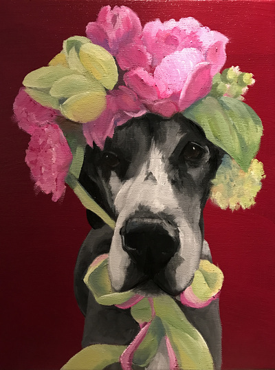 "Great Dane, Happiness Is,  Dog, Art, Pet, Portrait, Fine Art, Oil, Painting, Custom, Commission Your Own, Happiness Is,   The ""Happiness is"" series title is derived from the classic ""Peanuts"" comic strip statement 'Happiness is a warm puppy'. I began the series creating gifts of dog portraits of family and friends' furry companions. Now many of the paintings are available as canvas prints, reproductions start at $50 and magnets of your favs are just $3. Ideal for homes and the lobbies and interiors of any animal related business (vet clinics, grooming, boarding, supplies etc) or organization (aspca, humane society, rescues, shelters, etc). A portion of each print sale goes to no-kill shelters and rescues to help animals find their people. If anyone is of interest in learning more about what we can do for their space just contact me."